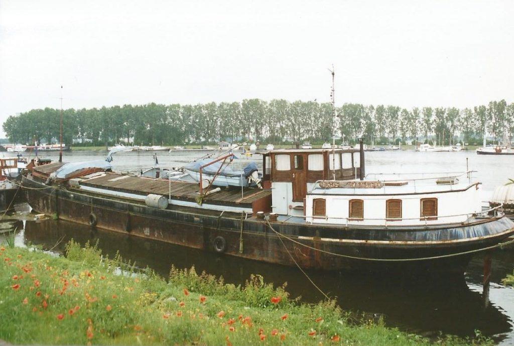Oud en roestig vrachtschip met zwarte romp en witte roef ligt in het water bij Wessem
